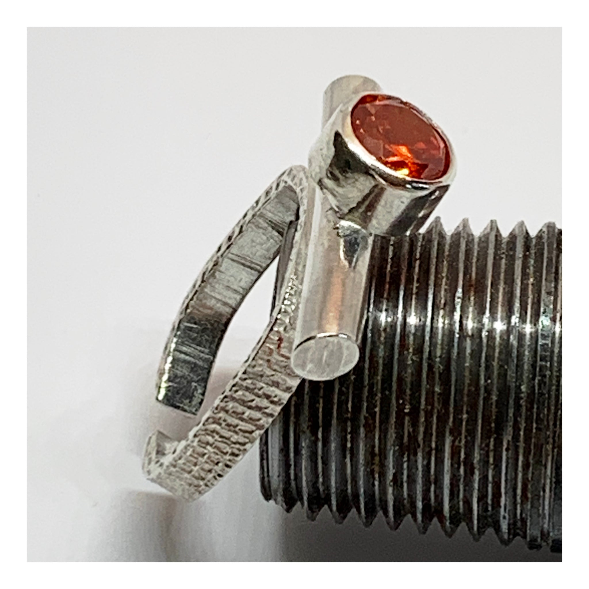 Unique Artisan Ring with Bright Orange Cubic Zirconia