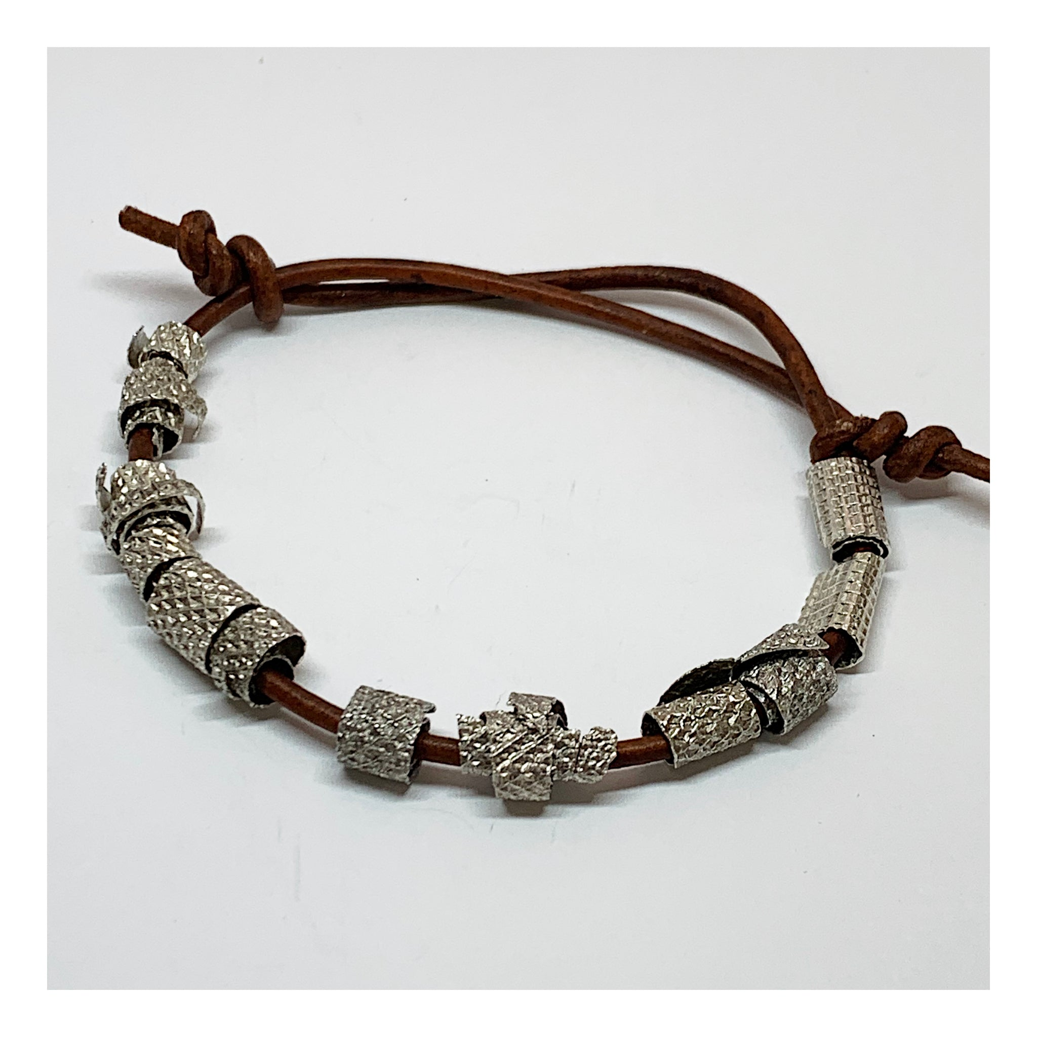 Leather and Sterling Silver Sliding Knot Bracelet