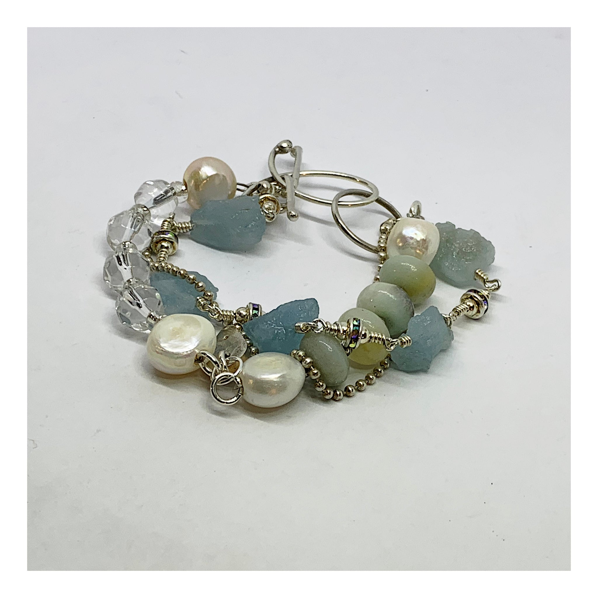Gemstone Beaded Bracelet - Aquamarine Pearl and Amazonite