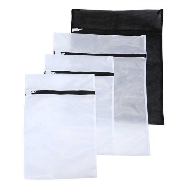 Set of 4 Delicates Laundry Protective Mesh Wash Bags with Drying Bag Black - SwoobFit