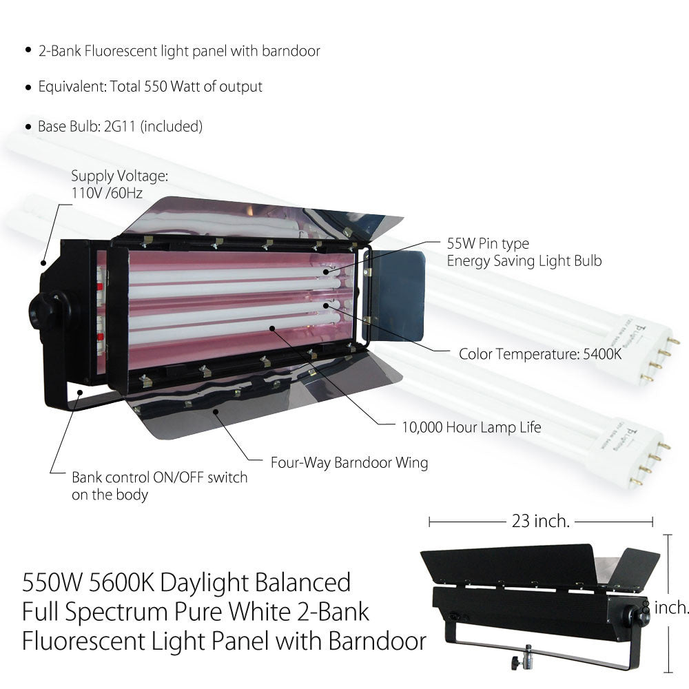 550W Fluorescent Cool Light 2-Bank Photography Video Lighting Kit with Barndoor on Heavy Duty Stand by Loadstone Studio
