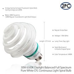2x 30W CFL Fluorescent Spiral Daylight White Bulb Continuous Light for Professional Photo & Video Lighting by Loadstone Studio