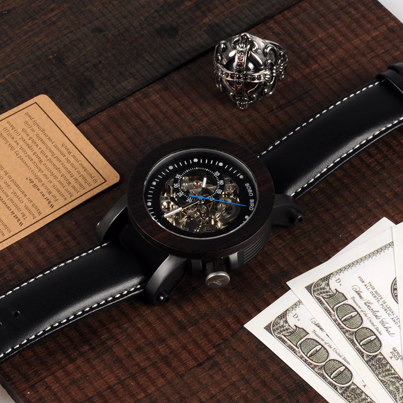 Luxury Classic Style Automatic Wood Watch - Black