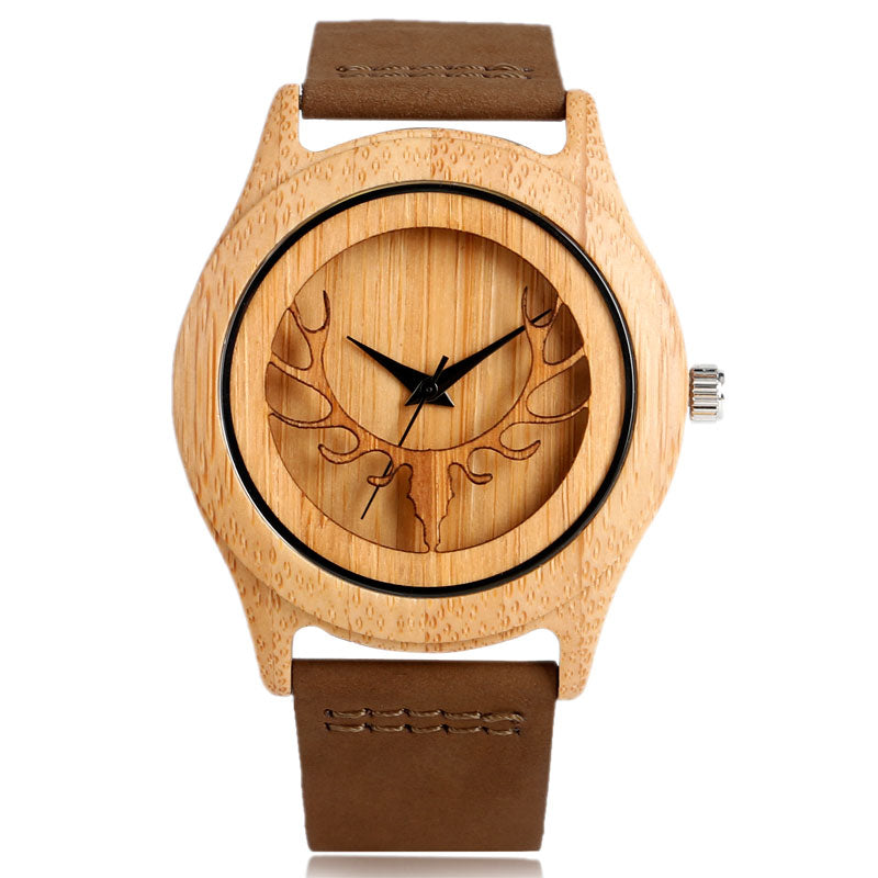 Deer Head Bamboo Wooden Watch With Leather Strap