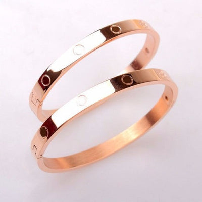 "Love Bracelet w/Screwdriver - Colors - Silver, Gold, Rose Gold - Size - 6"", 7.5""-Bangles-And 1 For All"