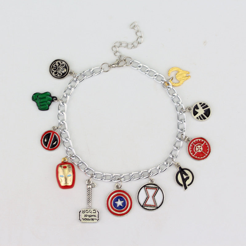 Marvel The Avengers 11 Charm Superhero Lobster Clasp Jewelry Bracelet
