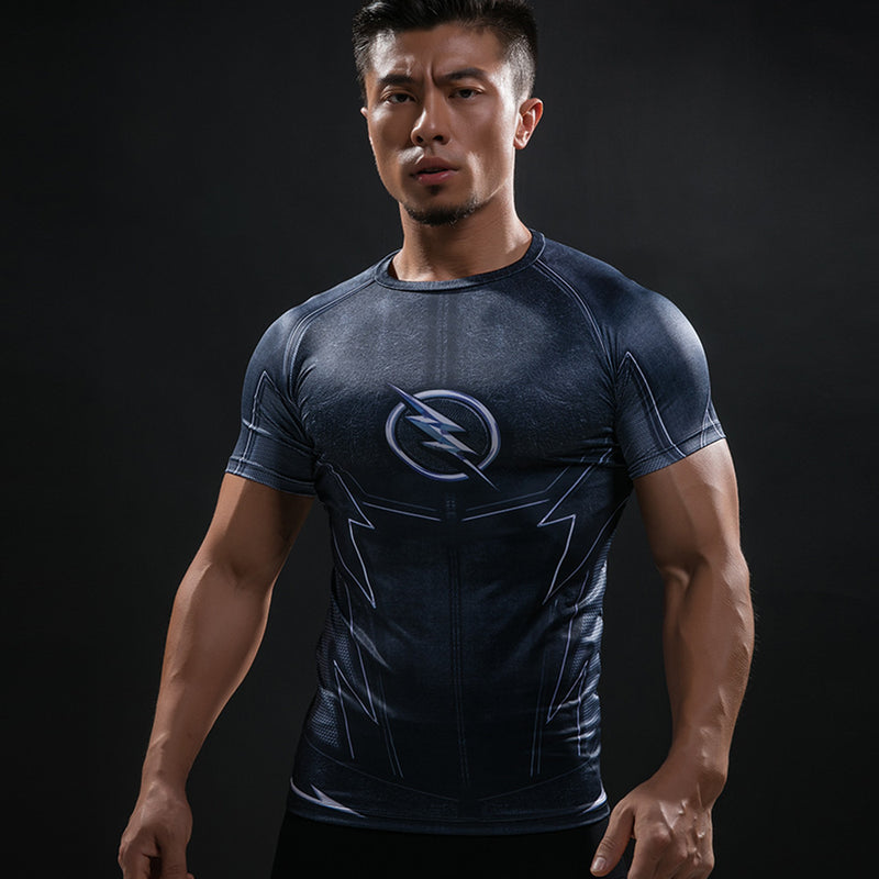 Marvel The Flash Men's Short Sleeve  3D Printed Quick Dry Compression T-Shirt, Dark Blue