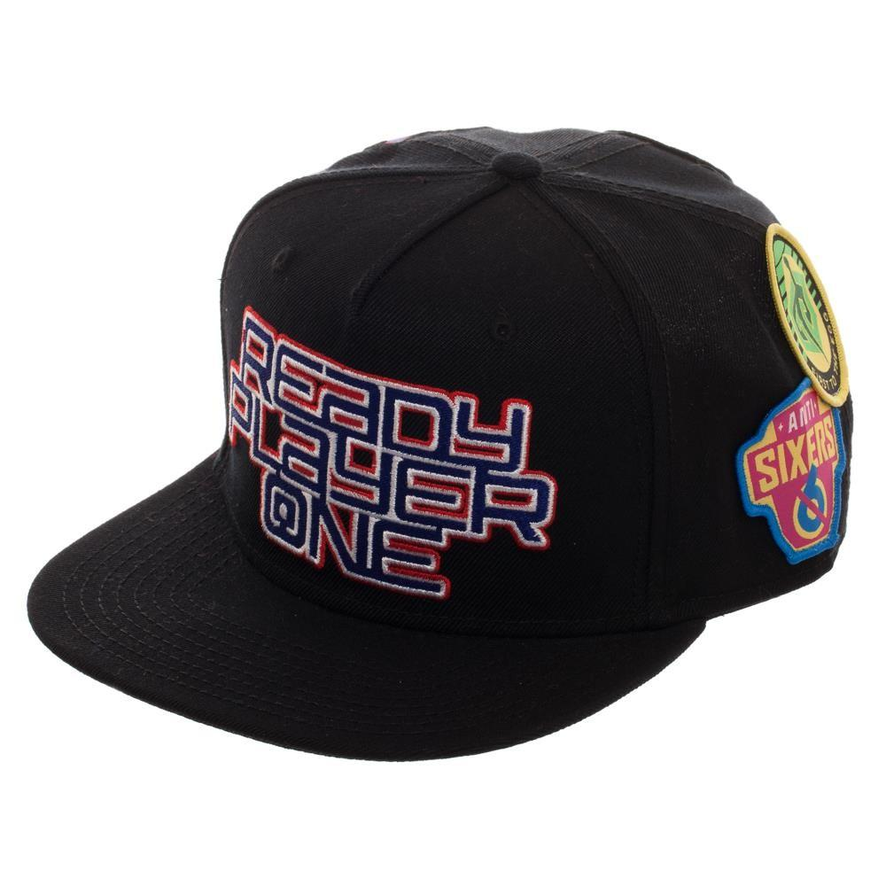 Ready Player One Logo Flat Bill Cap, Patch Black Snapback with Gamer Patches