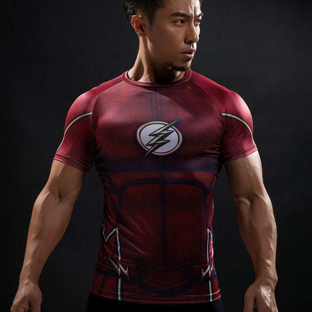 Marvel The Flash Men's Short Sleeve  3D Printed Quick Dry Compression T-Shirt, Red