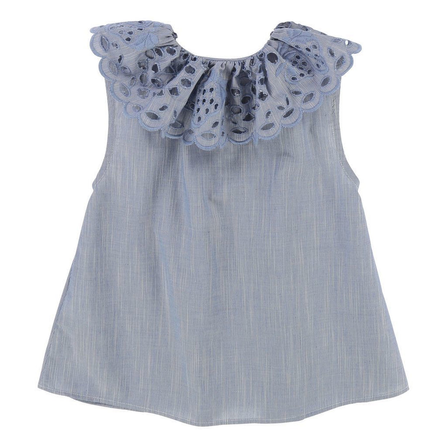 Chloe Blue Collar Cut Out Detail Blouse
