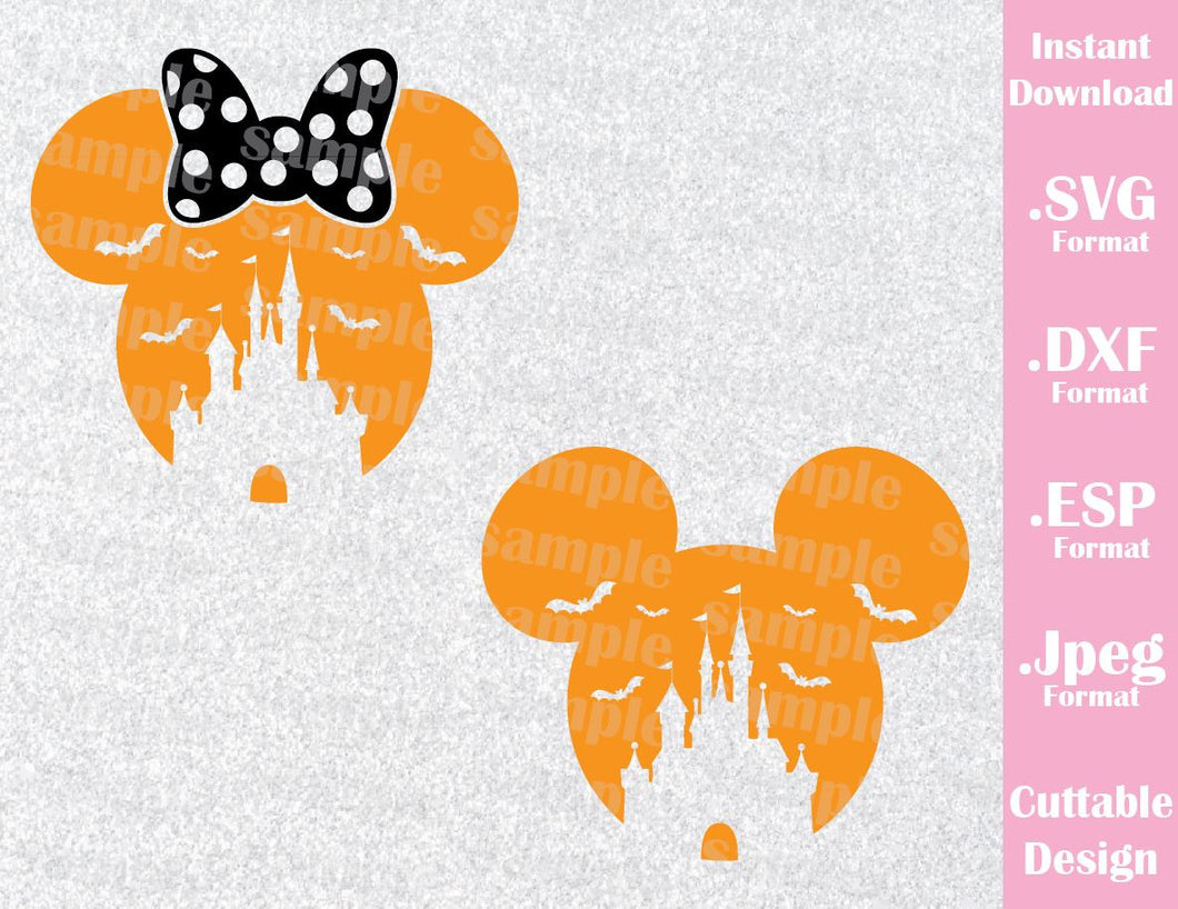 Castle Mickey and Minnie Mouse Ears Disney Halloween Inspired Cutting File in SVG, ESP, DXF and JPEG Format