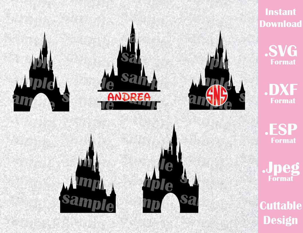 Disney Castle Inspired (NOT include Font or Monogram) Disney Parks Family Vacation Cutting File in SVG, ESP, DXF and JPEG Format