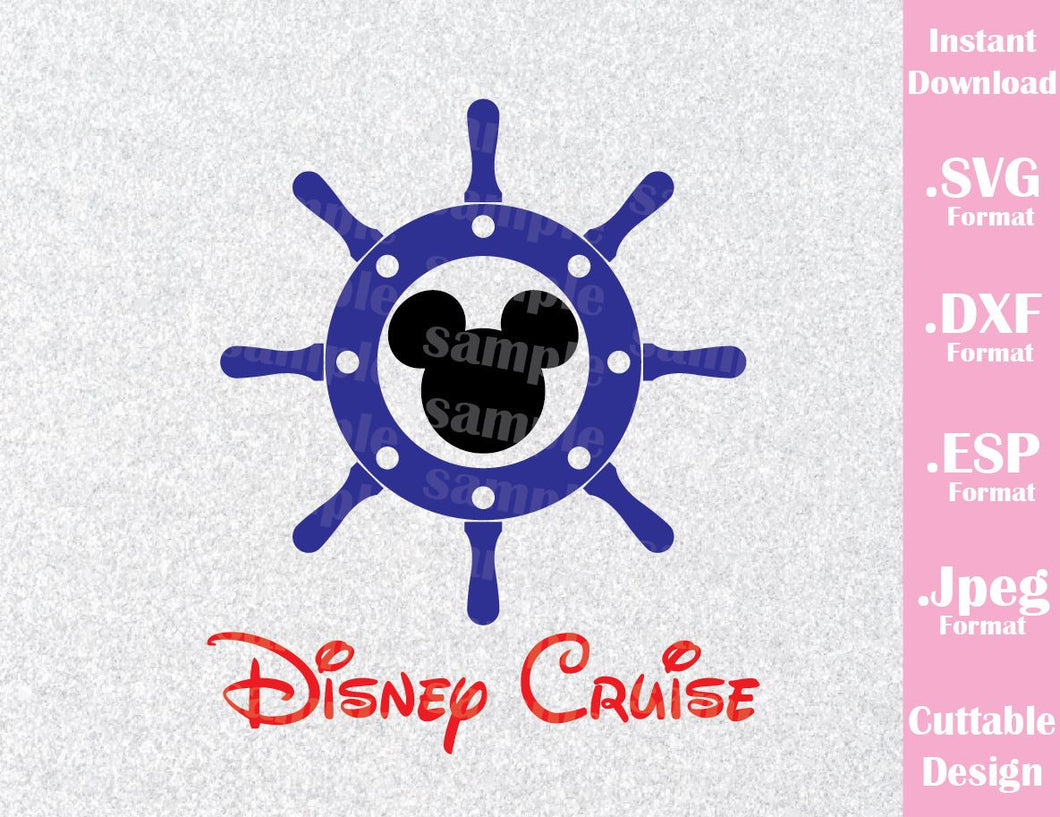 Anchor Mickey Mouse Disney Cruise Inspired Logo Mouse Ears Family Vacation Cutting File in SVG, ESP, DXF and JPEG Format