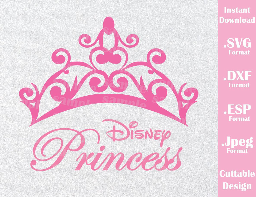 Disney Princess Logo Inspired Princess Crown Cutting File in SVG, ESP, DXF and JPEG Format