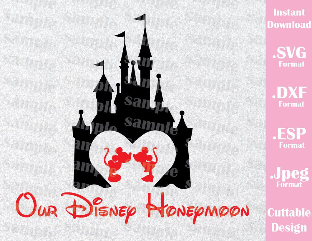 Disney Castle Inspired Mickey and Minnie Mouse Quote Our Disney Honeymoon Cutting File in SVG, ESP, DXF and JPEG Format