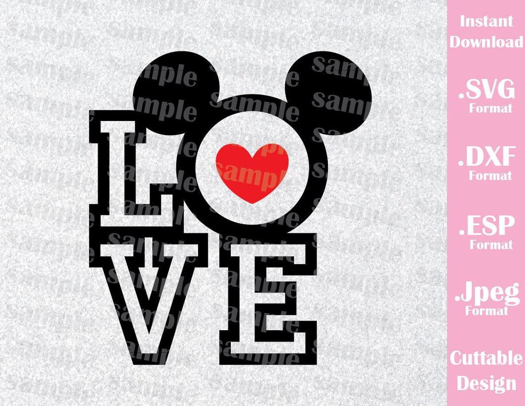 Disney Inspired Mickey Mouse Ears Love Quote Disney Honeymoon Cutting File in SVG, ESP, DXF and JPEG Forma