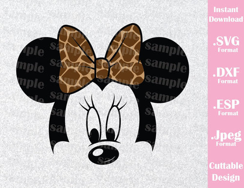 Animal Kingdom Minnie Mouse Ears Safari Bow Disney Inspired Family Vacation Cutting File in SVG, ESP, DXF and JPEG Format