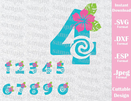 Princess Moana Numbers Birthday Girl Disney Inspired Cutting File in SVG, ESP, DXF and JPEG Format