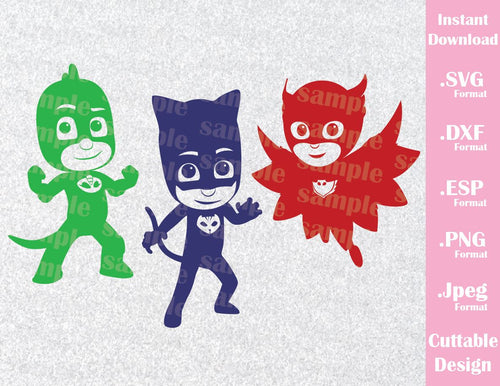 PJ Masks Kids Characters Cat Boy Gekko Owlette Disney Inspired Cutting File in SVG, ESP, DXF, PNG and JPEG Format