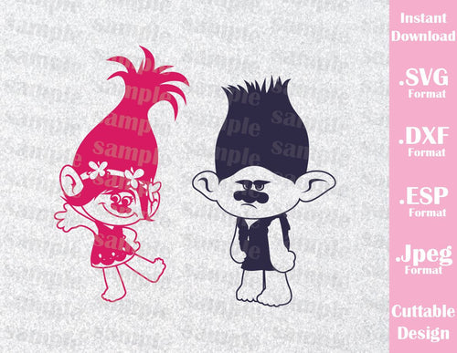 Trolls Hair Kids Characters Princess Poppy and Branch Cutting File in SVG, ESP, DXF and JPEG Format