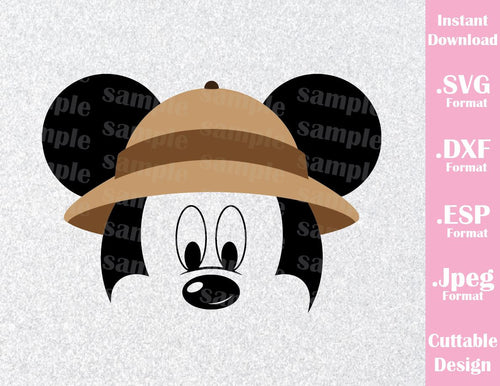 Animal Kingdom Mickey Mouse Ears Safari Hat Disney Inspired Family Vacation Cutting File in SVG, ESP, DXF and JPEG Format
