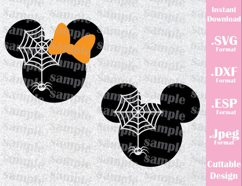 Mickey and Minnie Mouse Ears Spider Disney Halloween Inspired Cutting File in SVG, ESP, DXF and JPEG Format