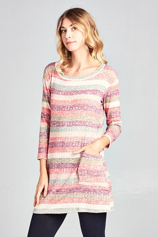 Pink Ombre Button Down Tunic Top