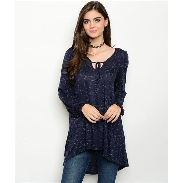 Navy Speckled Casual Tunic Top