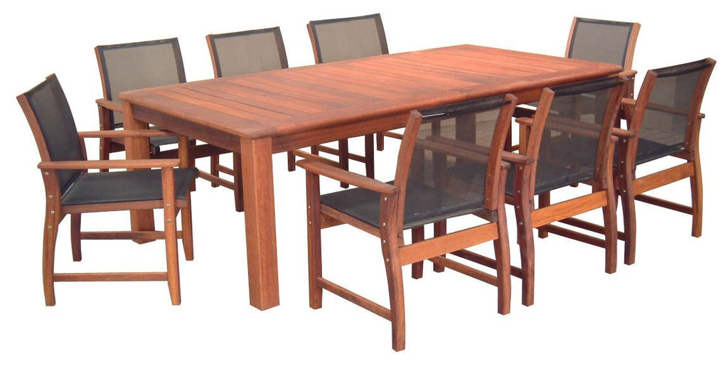 Kwila 9 Piece Prestige Dining Setting with Textilene Chairs - Joe's BBQs