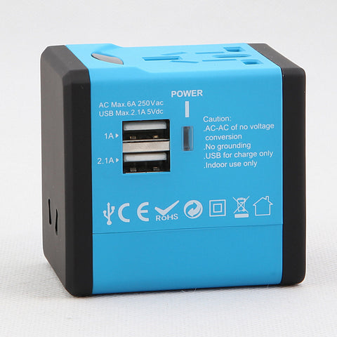 Dteck Worldwide Travel Charger for US EU UK AU Wall Universal Power Plug Adapter - Blue