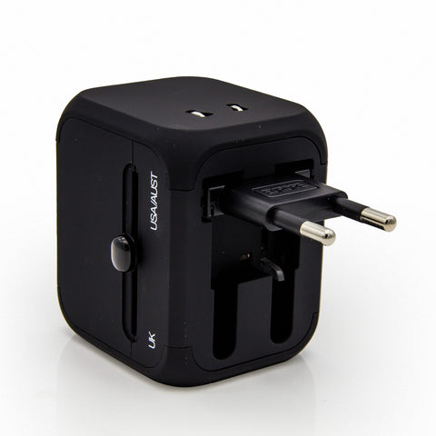 International Travel Charger, Dteck Safety Fused Worldwide All-in-one Plug [US UK EU AU] - Black