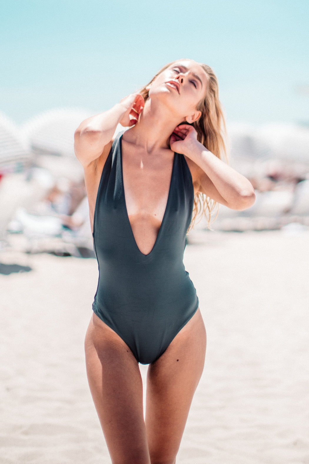 Dusk Deep V One-Piece in Licorice