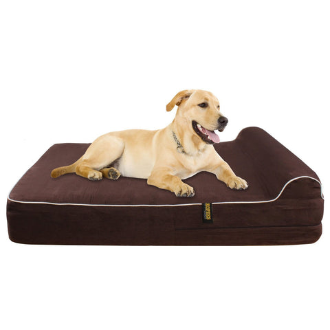 Dog Bed Orthopedic Memory Foam With PIllow - Brown - Extra Large - 127 x 85 x 18 cm