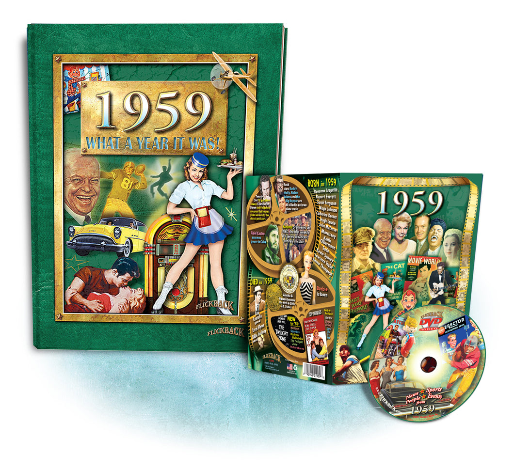 1959 What A Year It Was! Coffee Table Book & 1959 DVD Combo, Happy 60th Birthday or Anniversary