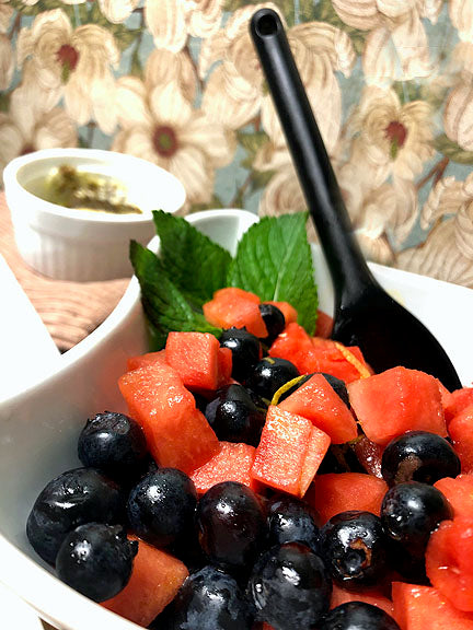 Fruit Salad with Strawberry Basil Dressing