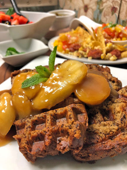 Banana Bread Waffles with Salted Caramel & Banana Rum Sauce