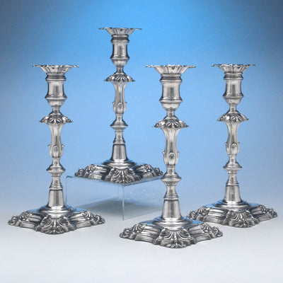 T. & J. Creswick Antique Sheffield Silver Plate Candlesticks - set of 4, Sheffield, c. 1830's
