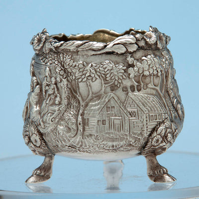 House scene with marks on English Sterling Silver Antique Master Salt, Edward Farrell, London, 1818/19