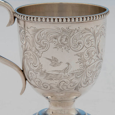 Birds on George Sharp for Bailey & Co Sterling Silver Child's Cup, Philadelphia, PA, 1855