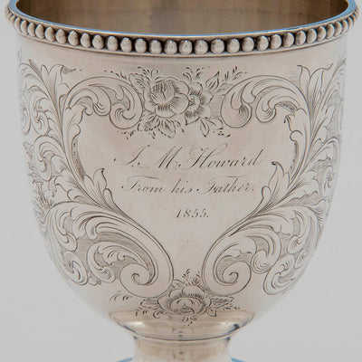 Inscription on George Sharp for Bailey & Co Sterling Silver Child's Cup, Philadelphia, PA, 1855