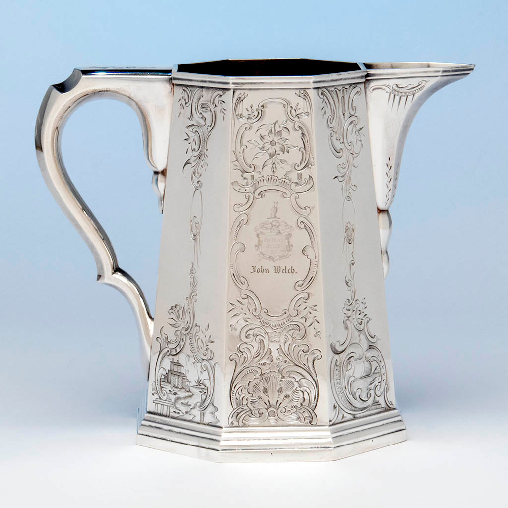 Lows, Ball and Company, likely by Obadiah Rich, Antique Coin Silver Pitcher, Boston, MA, 1840-46