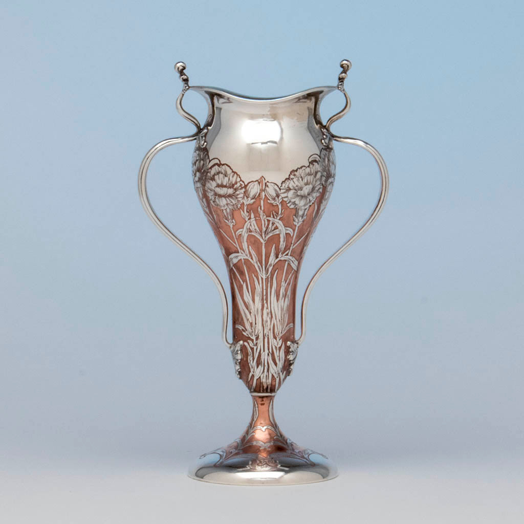 Tiffany & Co Antique Sterling Silver and Copper Vase, NYC, NY, 1903