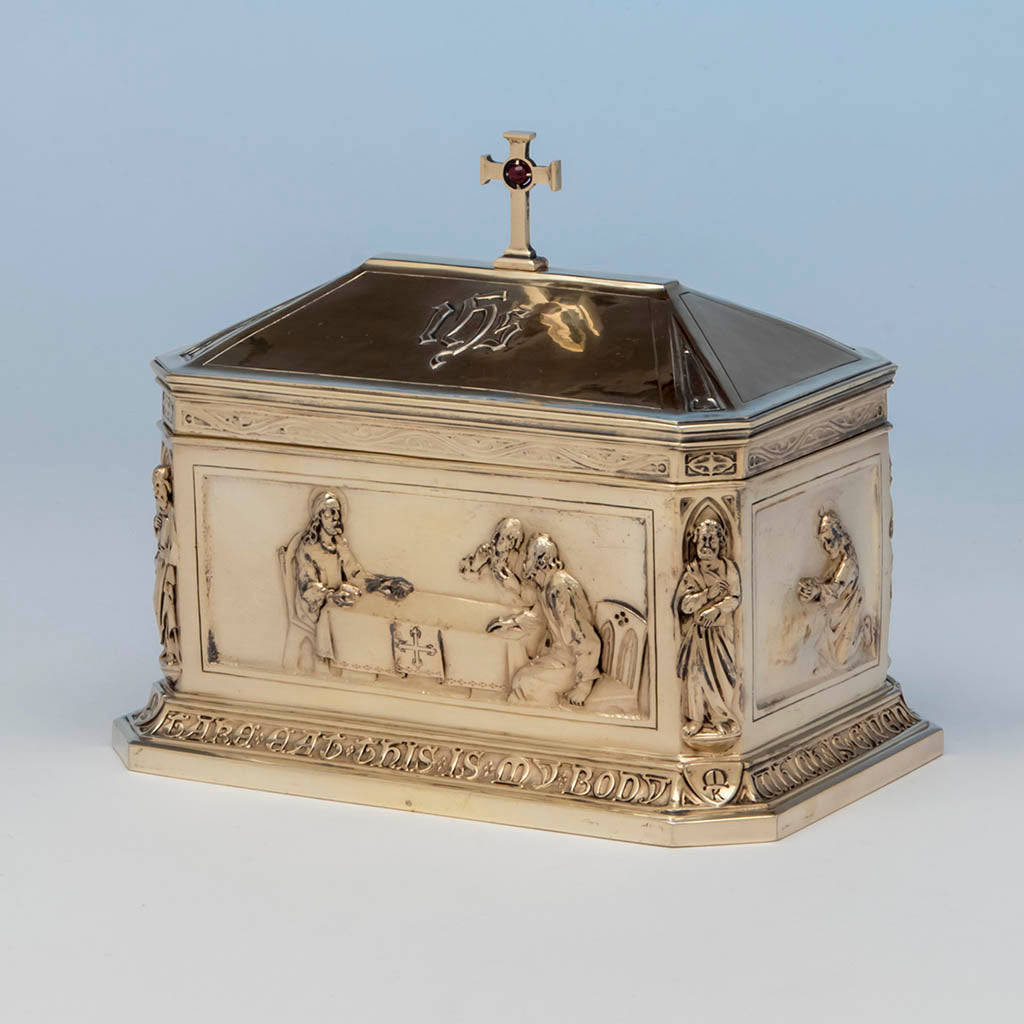 "George E. Germer: ""The Supper at Emmaus"" Silver Gilt Ciborium, Mason, NH, c. 1922"