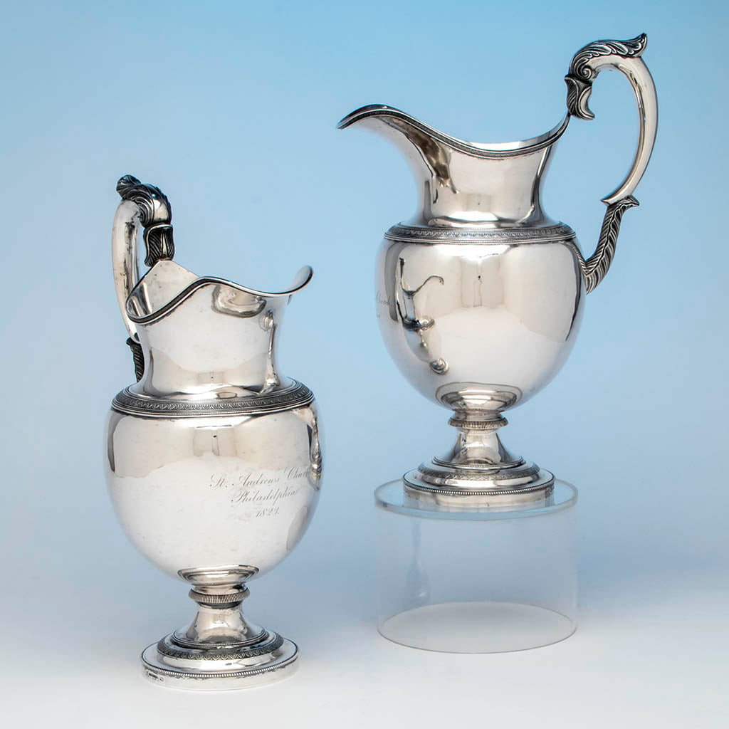 Brasier, Amable Pair of Antique Coin Silver Ewers, Philadelphia, c. 1823