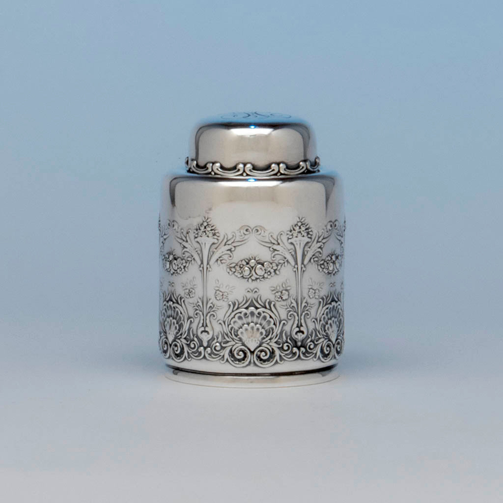 Whiting Antique Sterling Silver 'New Empire' Tea Caddy, NYC, c. 1890's