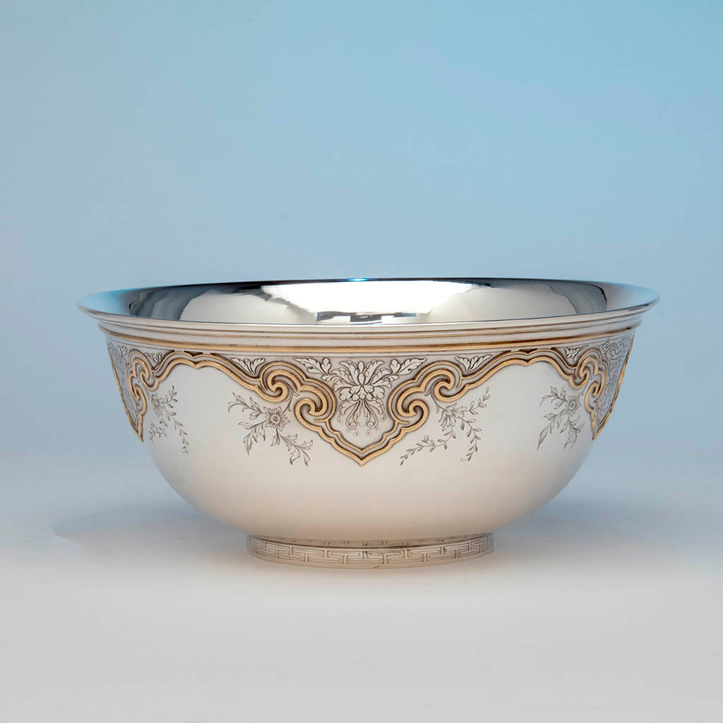 The Sweetser Company Sterling and 14k Gold Centerpiece Bowl, NYC, NY, 1906-1920