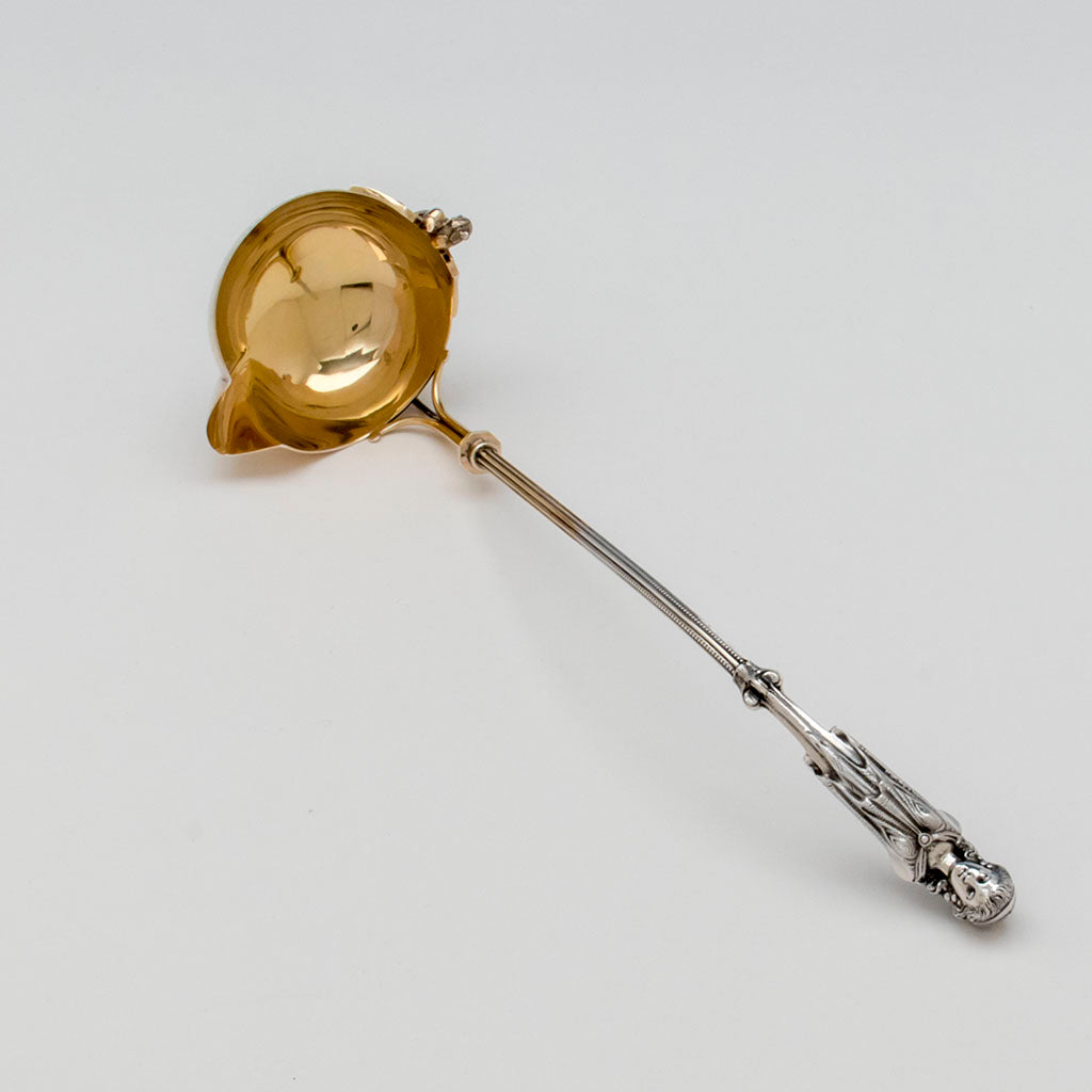 George Sharp Antique Coin Silver Figural Punch Ladle, Philadelphia, PA, 1866