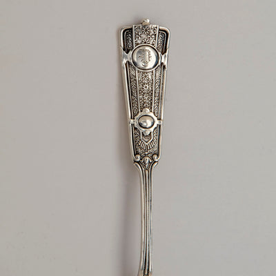 Handle to John Wendt 'Ribbon' Pattern Antique Sterling Silver Ice Cream Server, NYC,  c. 1876