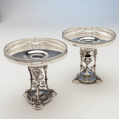 Side dishes to Tiffany & Co Antique Sterling Silver Figural Garniture Suite, New York City, 1870-75