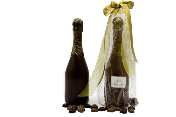 Chocolate Champagne Bottle Filled with Chocolate Beans